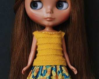 Narcissus - short dress for Blythe - knitted top with skirt