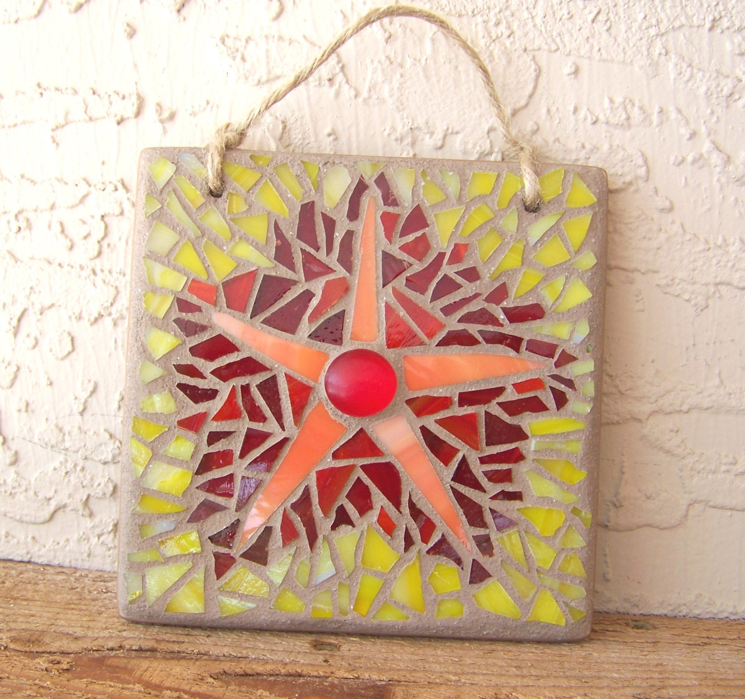 Mosaic Art Stained Glass Mosaic Wall Hanging Star Wall Decor