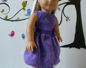 Special occasion dress purple for doll size like American Girl 18 in hand made