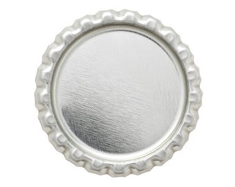 100 FLAT Bottle Caps Chrome Linerless Blank Crown Caps H7
