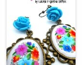 Bordado Mexicano- Mexican Embroidery Design -Frida Kahlo Inspired Antique Brass Metal Glass Earrings with Blue Resin Flower Rose