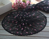 2 Yards Lace Trim Floral Embroidered Black Tulle Lace Trim 9.44 Inches Wide High Quality