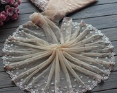 2 Yards Lace Trim Floral Embroidered Khaki Tulle Lace Trim 7.48 Inches Wide High Quality