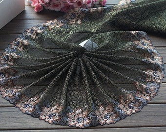 2 Yards Lace Trim Floral Embroidered Tulle Lace Trim 8.66 Inches Wide High Quality