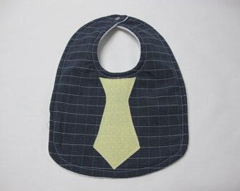 Navy and yellow infant tie bib