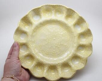 Deviled Egg Tray, Yellow Egg Tray, Handmade Stoneware Serving Tray