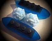 2 SETS (4 pcs) Titanic Ship & Glacier Soaps - Wood Fig and Berry Scent - BLUE color - Vegan guest bath decorative boat barge