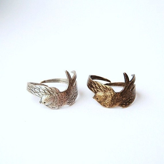 Bird ring - Brass or Silver - adjustable