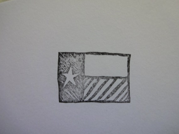 Hand carved rubber stamp texas state flag from