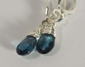 Drop Earrings London Blue Topaz Earrings Sterling Silver Earrings Blue Earrings
