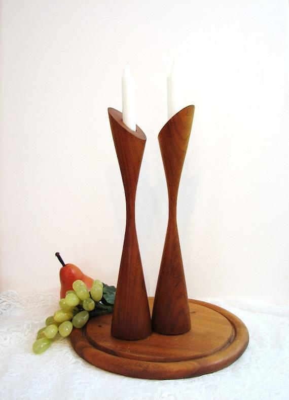"""Mid-Century Modern Turned Teak Wood Candlesticks, 12"""" Pair, Set of 2 ..."""