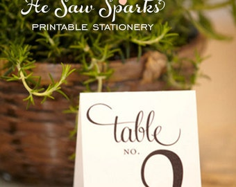 1-20 -Tented - Reception Table Numbers - Printable