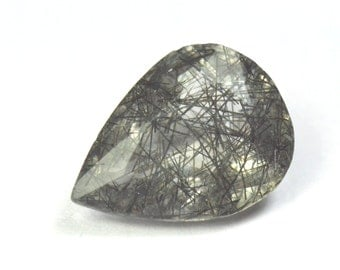 18.6mm Black RUTILE or  TOURMALATED QUARTZ 10.8ct 18.6 by 13.65 by 8mm