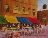 South Philly Italian Farmers Market Art Print Painting, Philly Print of Original Watercolor, Barbara Rosenzweig, Etsy, Bananas Produce Fruit
