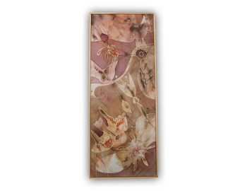 Abstarct wall panel, silk painting, pastel colors, wall hanging, fantasy, vertical, dusty pink, salmon, rose ashes, beige, cream, purple
