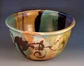 Bowl With Brush Work, Multiple Glazes Of Green, Purple, Soft Rust, Dark Brown, Salad Bowl, Ready To Ship