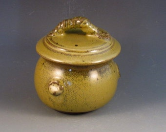 Trinket Jar With Beautiful Green Glaze, Ready To Ship