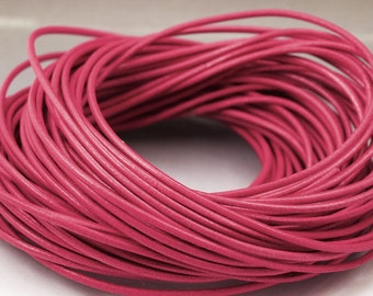 8 inches Raspberry pink leather cord 2 mm Dark Pink Core leather cord 2mm leather cord Pink cord