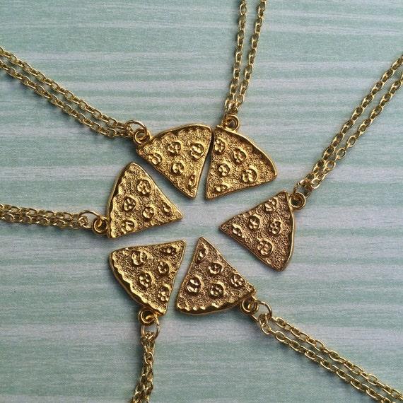 gold best friend pizza charm necklace 1 necklace