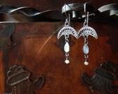 Moonstone Pearl Sterling Silver Crescent Drop Dangle Earrings - Moon Goddess Jewelry