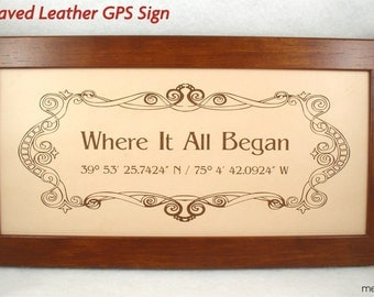 Engraved Leather Anniversary and Wedding Sign - GPS Sign, Family Name Sign, Bus Scroll Sign - Third Anniversary Gift, 3rd Anniversary Gift