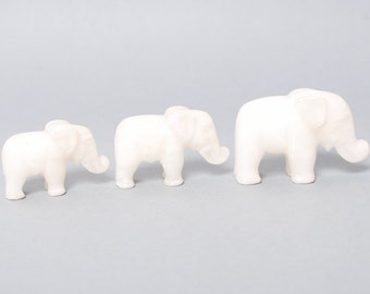 Set of 3 Antique small elephant sculptures carved from marble, home decor