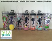 Golf or other sport, Personalized w/name acrylic tumbler, monogram, Available in skinny, standard, sip top, sport bottle, mason, Vino2go