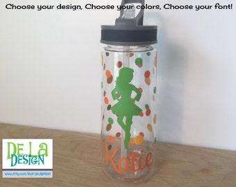 Personalized Clear plastic sport water bottle, Flip top w/ straw, 24 oz size, Irish Step dance, Clogging, Folk dance, team, or other sport