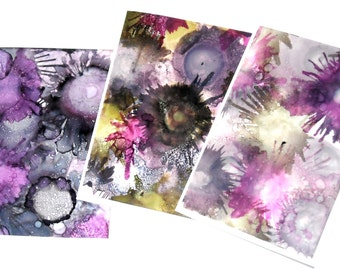Note Card Set of Three, Original Art Cards, Alcohol Ink Card, Hand Painted Card, Blank Cards, Thinking of You Cards, Original Art Work