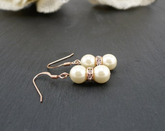 Ivory Bridesmaids Earrings, Ivory Bridal Earrings, Ivory and Rose Gold Bridesmaids Earrings, Ivory and Rose Gold Wedding Jewelry