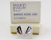 Vintage 1982 Signed Avon Silvertone Pleated Horn Polished Glossy Flared Fan Silver Tone Clip On Earrings in Original Box NIB