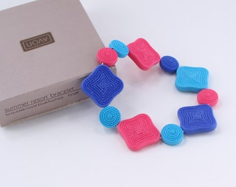 Vintage 1988 Avon Summer Resort LARGE Plus Size Plastic Faux Raffia Turquoise Royal Blue Fuchsia Pink Square Bracelet Original Box NIB