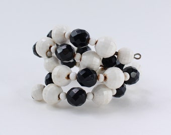 Vintage Double Strand White Plastic Onyx Black Glass Faceted Beaded Wrap Memory Wire Coil Sz SMALL Cuff Bracelet with Spots of Discoloration