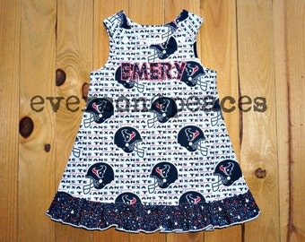 HOUSTON TEXANS RUFFLE Dress For Babies and Toddlers Button Closure Handmade