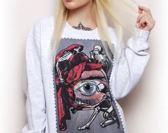 All Seeing Eye Sweatshirt - grunge goth, illuminati, evil eye, eye of providence, christmas goth jumper gift, street goth sweater occult