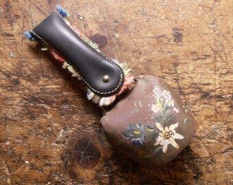 Vintage Appenzeller Cow Bell - Hand Painted Bell with leather strap