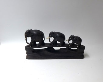 Vintage mid century hand carved ebony elephant family figurine