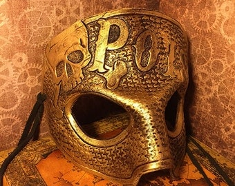 On Sale! Antiqued Gold Leather Masquerade Poison Skull Crossbones Mask - handmade mardi gras burning man halloween wearable display art