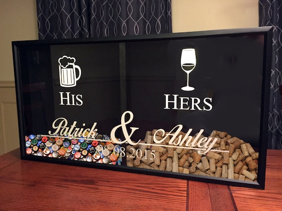 Mr and mrs wine cork and beer cap tab holder his and hers for Cork bar top