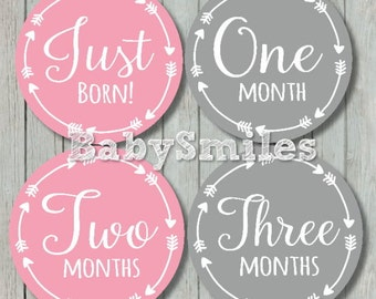 FREE GIFT Monthly Baby Stickers Baby Month Stickers Girl Month Stickers Monthly Milestone Sticker Pink Grey Tribal Arrows Month Stickers