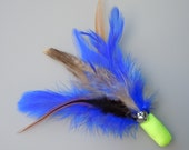 Cat Toy Neon Yellow and Royal Blue Feather Flier with Catnip and Bell