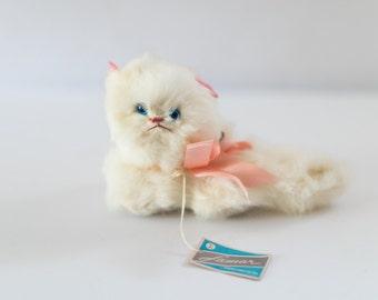 Vintage Real Rabbit Fur Musical Cat by Lamar Rock-a-Bye Baby