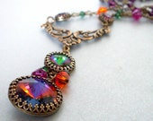 Colorful rhinestone pendant necklace, antiqued brass wire wrapped, Austrian crystal beads and set stones, filigree necklace, crystal jewelry