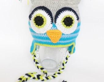 Crochet baby hat, Owl hat, crochet hat, children hat, baby owl hat, hat with earflaps, winter hat, gray hat