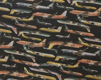 w270 - airplanes fabrics- cotton linen fabrics - Half Yard ( 2 colors to choose )