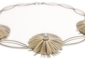 3 Literary blossoms - book  fragment necklace with sterling silver elements and Akoya pearls