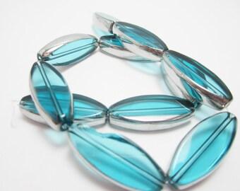 Light Blue Oval Glass Beads Destash Beads Silver Edges Flawed Bead 1 Strand 3980
