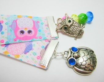 Owl Ribbon Bookmark Pastel Owl Ribbon Owl Charms