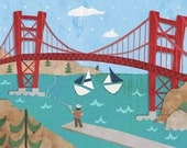 Sunny San Francisco - Stretched Canvas Wall Art for Kids
