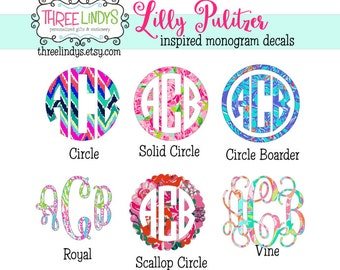 Lilly Pulitzer Monogram Decal- Monogram Sticker- Vinyl Decal- Car Decal- Laptop Decal- Yeti Decal- Camelback Decal